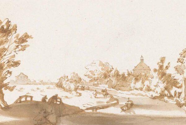 J. de Bisschop, Hofwijck met langs de Vliet twee theehuisjes en iepenmanteling, 1660. Rijksmuseum