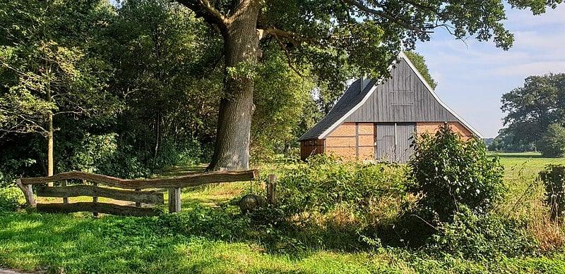 Breckelenkamp, vakwerkschuur, foto archief Huis te Breckelenkamp
