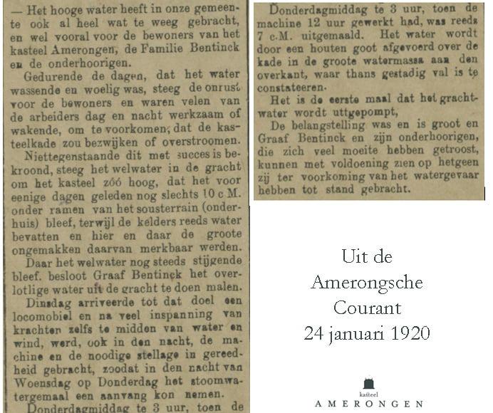 Bericht hoogwater in Amerongsche Courant
